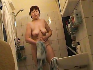 russian mature fully exposed in washroom