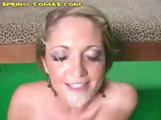my sexy skinny blond wife took several loads on