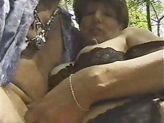 older in darksome nylons drilled by juvenile guy