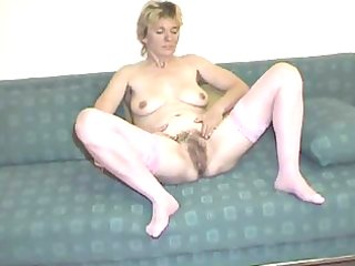 shaggy aged in pink nylons undresses