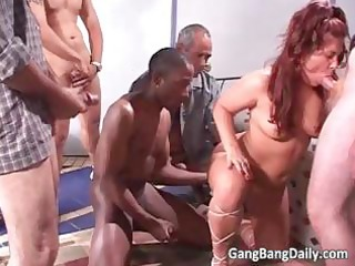 divorced bulky mamma acquires gang group-fucked