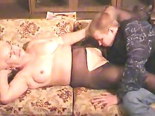 old blond granny in hose sucks and bonks the chap