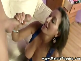 breasty milf uses her love muffins to acquire