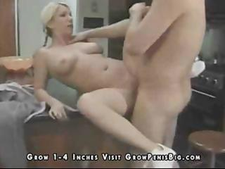 lewd golden-haired wife milks his jock for some