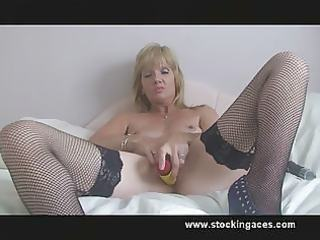 fresh stocking mother i jill with dildo fucking