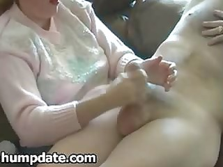 cfnm mother i gives tugjob with cheerful end