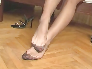 wife nylon feet