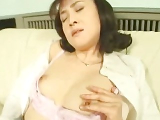 sexually excited oriental wife masturbating in