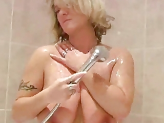 golden-haired aged in the shower