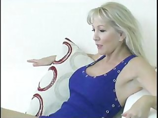 breasty older blond gets her feet licked and then