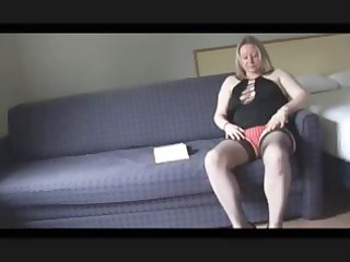 fat golden-haired mama shows off her body and