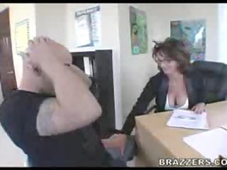 older lady fucks in her office