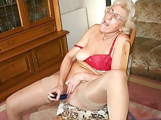 grandmom in hose masturbating with sextoy