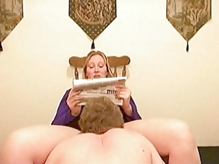 hubby cleans during the time that wife reads