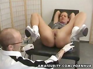older non-professional wife goes for a checkup