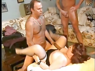 Plump mature and six guys - gangbang