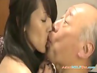 milf with fastened arms fucking with old stud cum