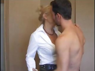 slutty golden-haired french aged eats cock and