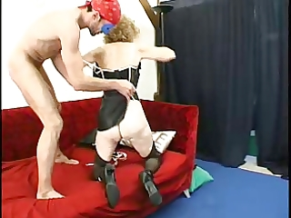 gaping anal granny in nylons copulates three