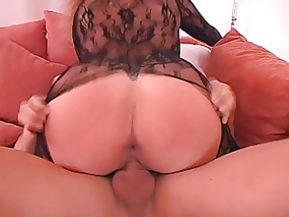 german wife big bazookas in sexy catsuit laid