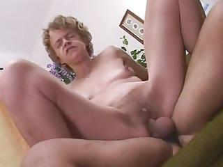 slender little titted granny loves cock