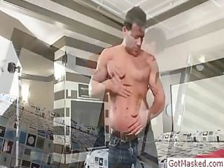 muscled aged chap stripping by gotmasked