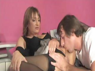 mature brunette hair calls up a ally and trades