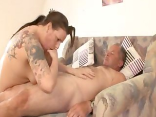bulky older german brunette with tattoos rides