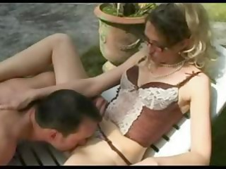horny, aged french lady bangs her gardener in the