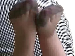 cum on wife grey nylon feet