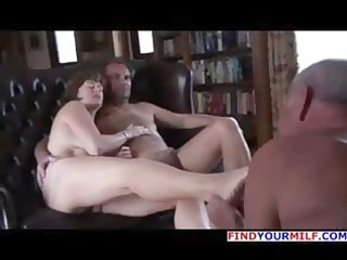 old chap is getting cuckolded and licks the feet