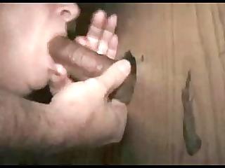 gloryhole wife receives a large one