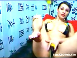 latin mother i playing with 3 dildos on webcam