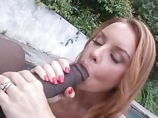 enormous chested redhead momma sucks giant dark
