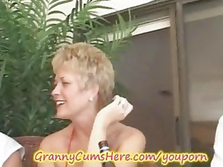 granny has a xxx swingers party and booty licking