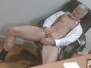 sexy bisex grandpa beating his meat at the office