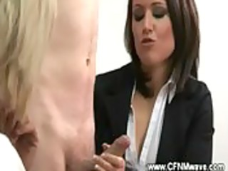 cfnm office jerkoff session with sexy milfs
