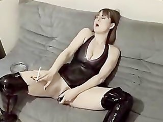 hawt wife in boots plays with sex tool then bonks