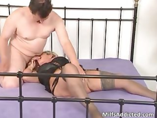lascivious golden-haired mum blows pecker and