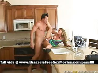 amateur blond wife on the kitchen table acquires