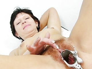 fuckable brunette hair granny receives her bushy