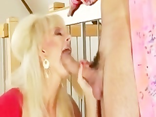 sexy blond granny banging in gold boots