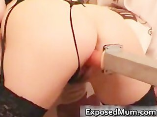 darksome haired mum can toy machine while part4