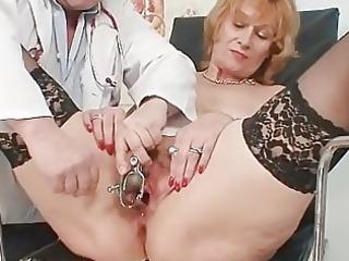 redhead granny indecent cum-hole stretching in