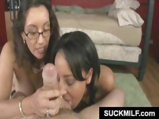 exotic mother and daughter team engulf on a