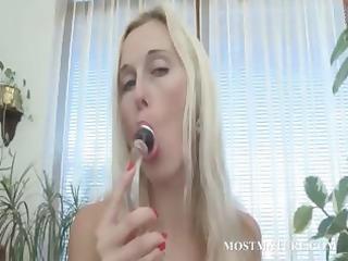 sexy older vibing her pink enchanting twat