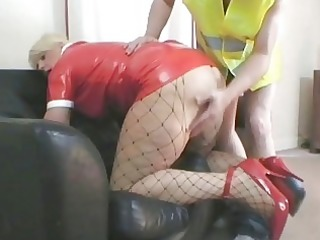 hot golden-haired d like to fuck in latex outfit