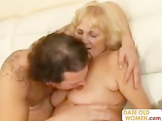 granny open her throat for youthful semen