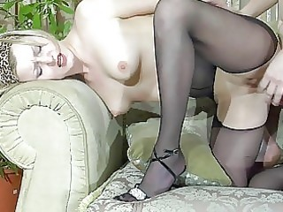 pale golden-haired mother i in dark hose acquires