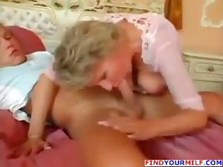 aged golden-haired goes down on his cock and